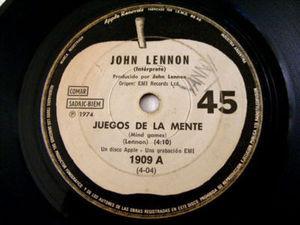 "7"" JOHN LENNON Apple 1909 Argentin 45 JUEGOS DE LA MENT"