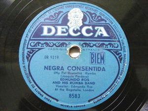 EDMUNDO ROS Decca 8583 LATIN 78 NEGRA CONSENTIDA