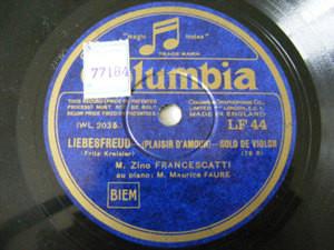 FRANCESCATTI violin FAURE piano Columbia 44 78 KREISLER