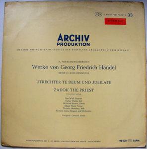 G. JONES Archiv SAPM 198008 HANDEL Zadok LP STEREO
