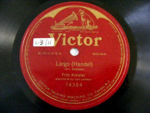 FRITZ KREISLER Victor 74384 VIOLIN 78rpm HANDEL largo