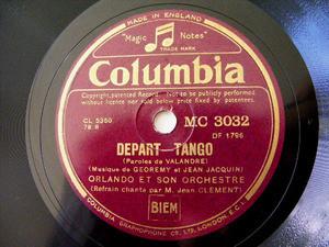 ORLANDO ET SON ORCHESTRE Col 3032 TANGO 78rpm DEPART