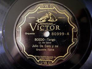 JULIO DE CARO Victor 80999 TANGO 78rpm BOEDO/CANDILEJAS