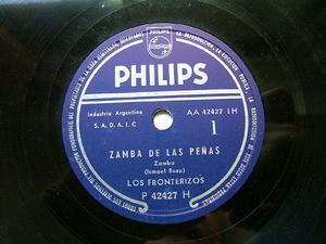 LOS FRONTERIZOS Philips P 42427 ARG FOLK 78rpm ZAMBA