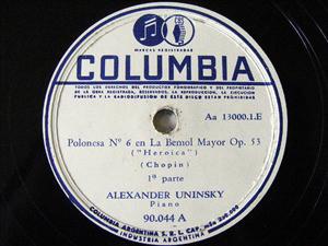 ALEXANDER UNINSKY Arg COLUMBIA 90044 78rpm CHOPIN Pol#6