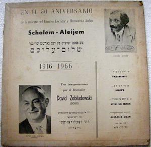 DAVID ZABLUDOWSKI Odeon 33050 SCHOLEM ALEIJEM Jewish LP