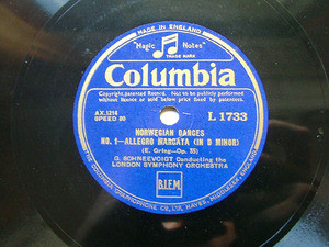 G. SCHNEEVOIGT cond COLUMBIA L1733 2x78rpm Set GRIEG