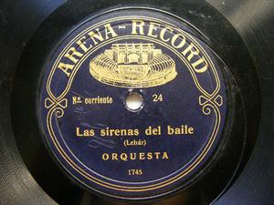 ORQUESTA Rare ARENA 24 78rpm LAS SIRENAS DEL BAILE