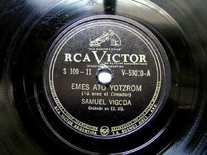 SAMUEL VIGODA Arg RCA VICTOR V-59020 JEWISH 78rpm