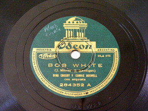 CROSBY & BOSWELL Arg ODEON 284352 JAZZ 78rpm BOB WHITE