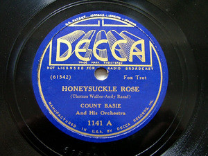 COUNT BASIE & His Orch DECCA 1141 JAZZ 78rpm HONEYSUCKLE ROSE