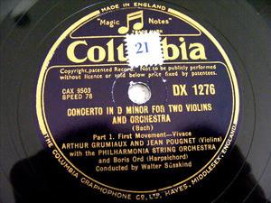 GRUMIAUX & POUGNET Columbia 1276/7 2x78rpm Set BACH