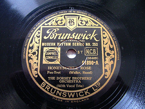 DORSEY BROTHERS Brunswick 01890 JAZZ 78rpm HONEYSUCKLE