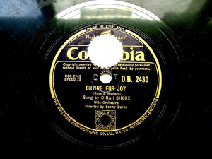 DINAH SHORE Columbia 2430 JAZZ 78rpm LITTLE WHITE LIES