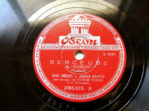 B. CROSBY & J. HEIFETZ rare Arg ODEON 285515 JAZZ 78rpm