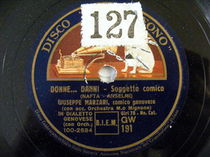 GIUSEPPE MARZARI Gramofono 191 GENOVESE 78rpm DONNE DAN