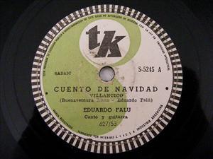 EDUARDO FALU Tk S-5245 GUITAR 78rpm CUENTO DE NAVIDAD