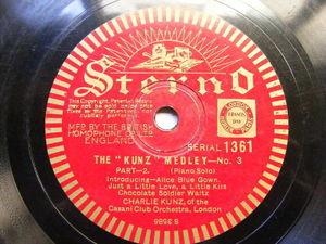 CHARLIE KUNZ Sterno 3586 PIANO 78 THE KUNZ MEDLEY No.3