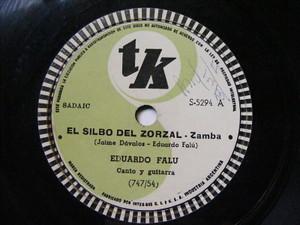 EDUARDO FALU Tk 5294 GUITAR 78rpm EL SILBO DEL ZORZAL / EL CONDOR PASA