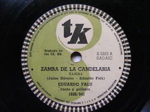 EDUARDO FALU Tk 5325 GUITAR 78rpm ZAMBA DE LA CANDELARIA / VIDALA DEL REGRESO