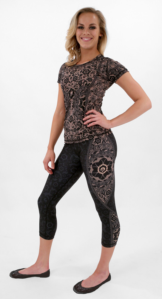 INKnBURN Women's Black Lace Capris with Black Lace Tech Shirt