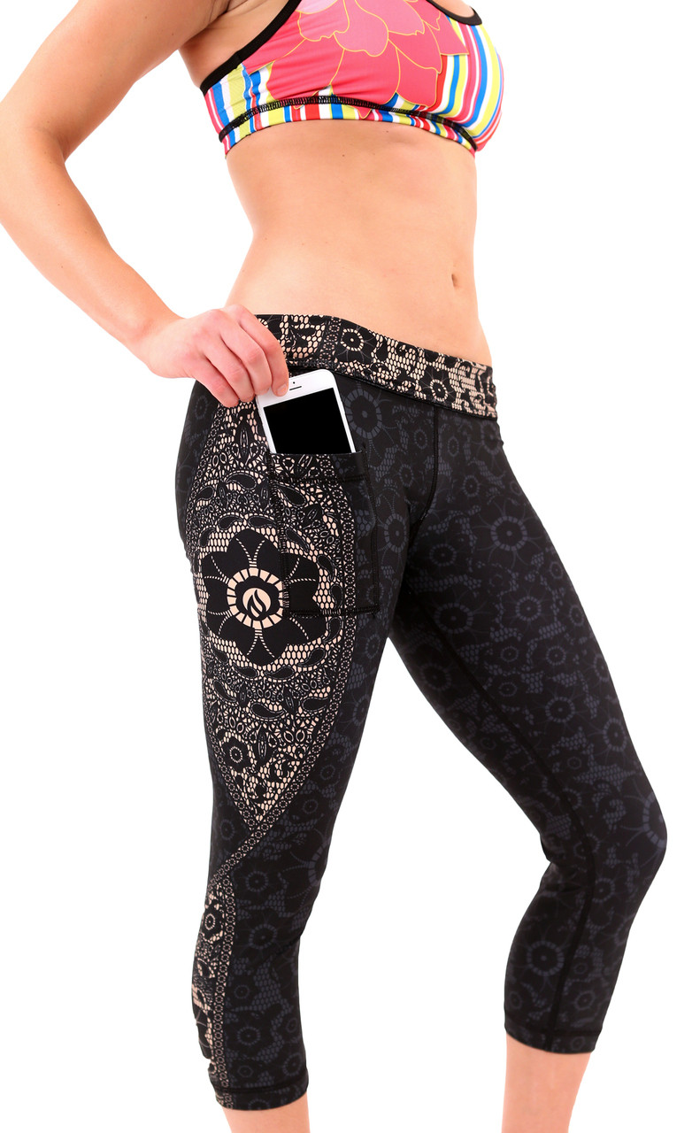 INKnBURN Women's Black Lace Capris Side Camoflaged phone pocket