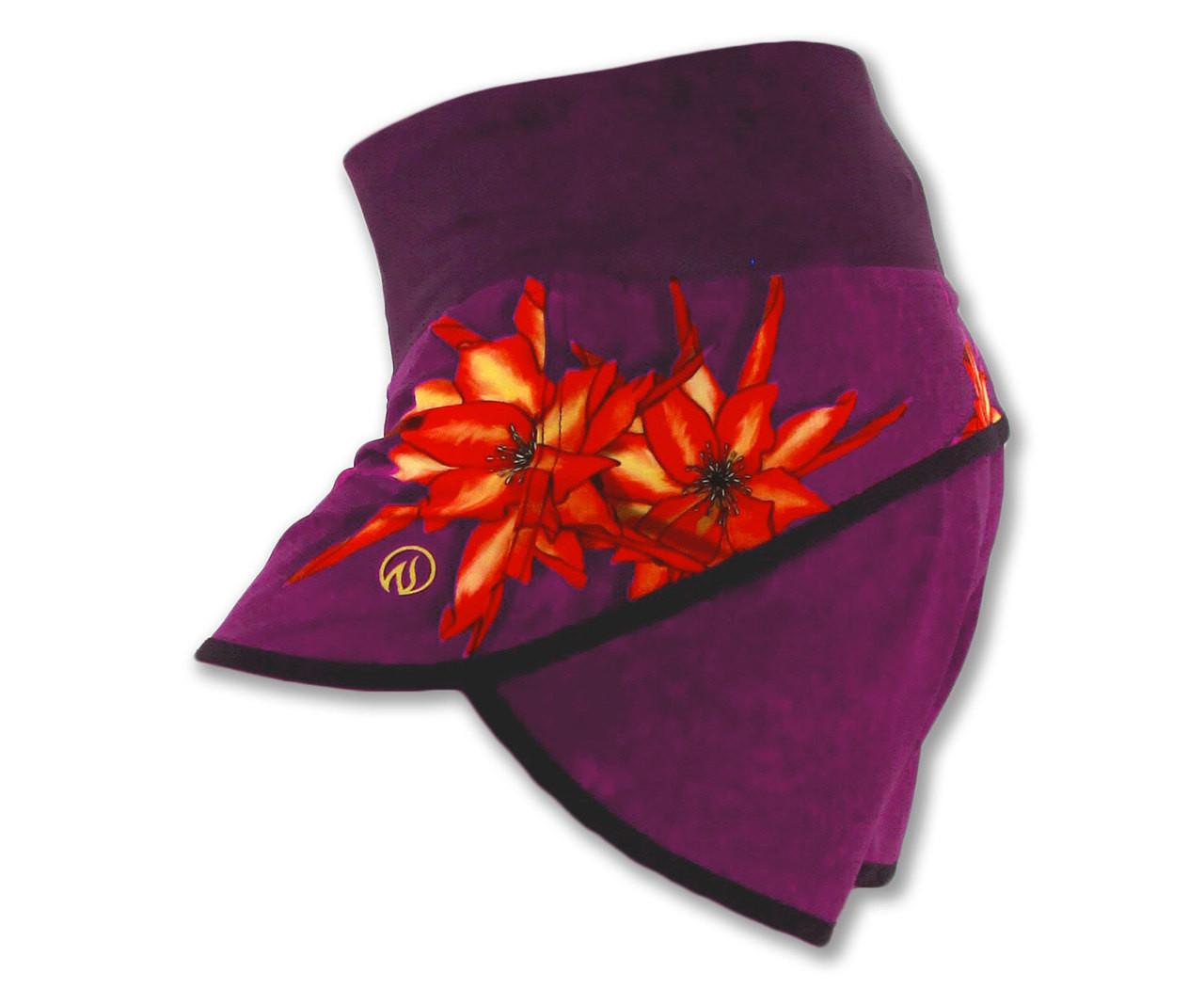 INKnBURN Women's Dragon Flower Shorts Left Side Waistband Up