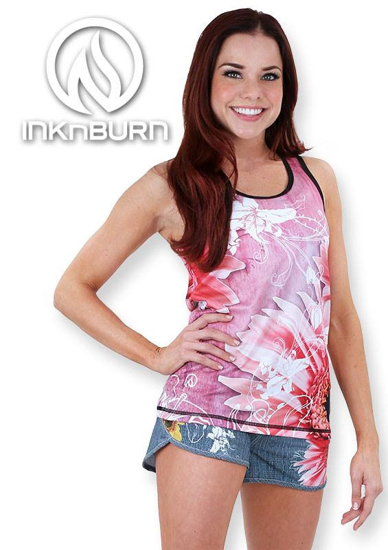 INKnBURN Women's Wildflower Singlet paired with Wildflower Shorts are perfect for running, cross fit, working out, yoga or hanging out