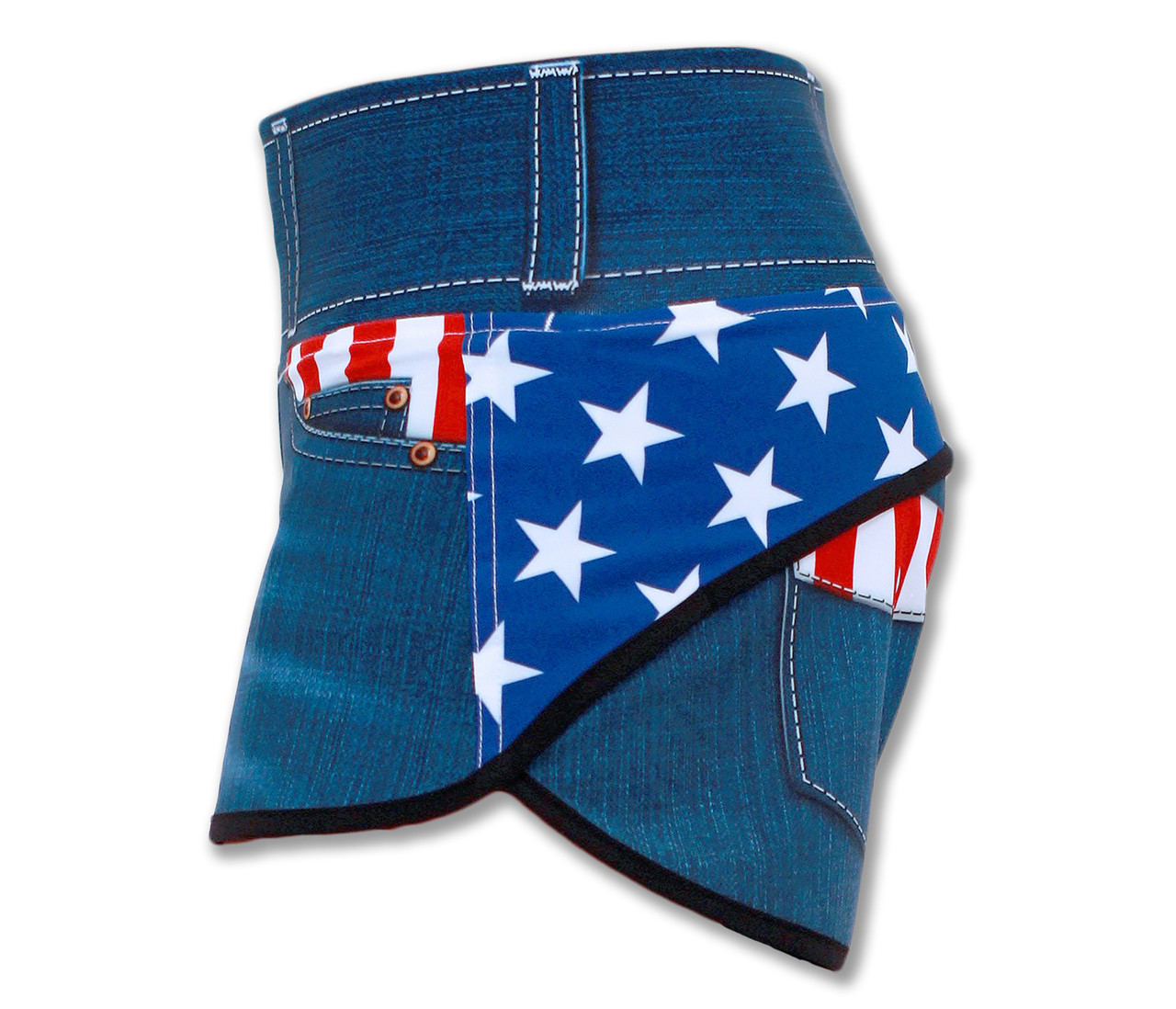 INKnBURN Women's Liberty Shorts Left Side Waistband Up