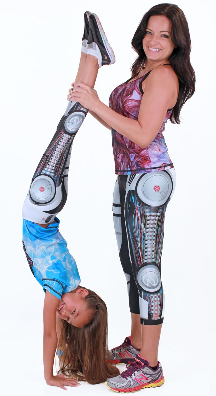 INKnBURN Robot Capris for Women and Girls