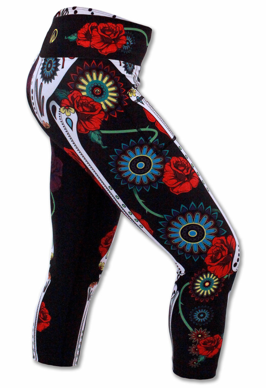 INKnBURN Calavera Capris Right Side View Waistband Up