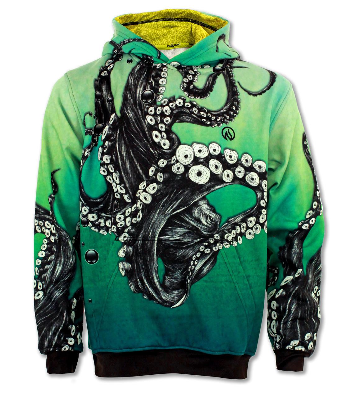 INKnBURN Octopus Hoodie Front with Hood Down
