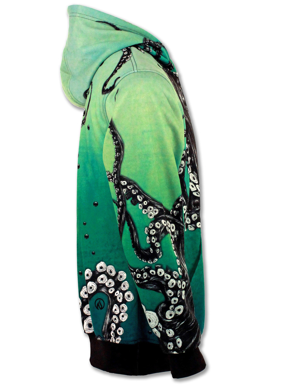 INKnBURN Octopus Hoodie Left Side with Hood Down