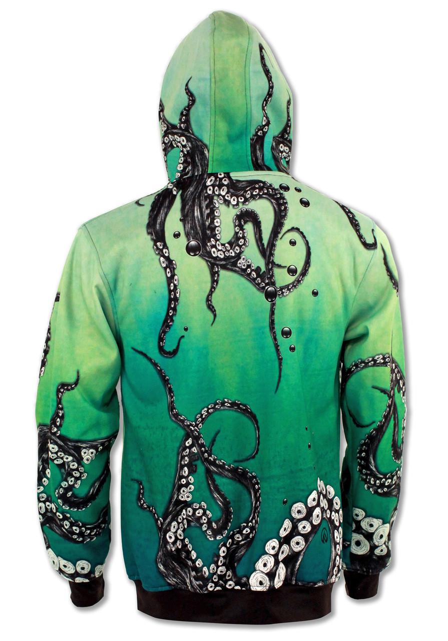 INKnBURN Octopus Hoodie Back with Hood Up