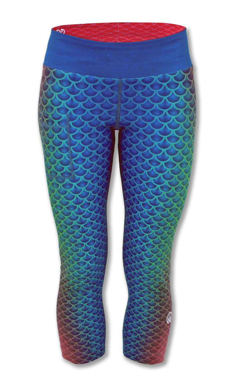 INKnBURN Women's Mermaid Capris Front with Waistband Up.