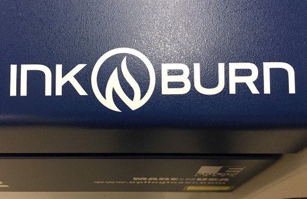 INKnBURN Logo Decal Applied to our in house laser cutter.