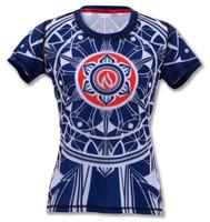 INKnBURN Women's Blue Healing Mandala Tech Shirt Front