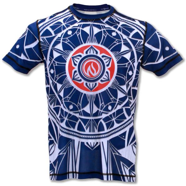 INKnBURN Men's Blue Healing Mandala Tech Shirt Front