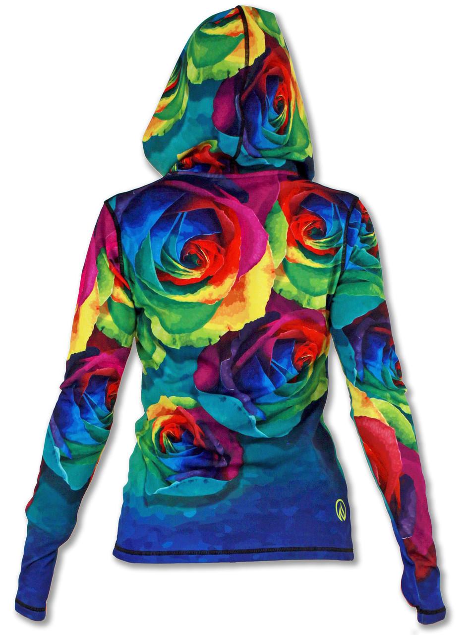 INKnBURN Women's Rose Full Zip Hoodie with Thumbholes Back