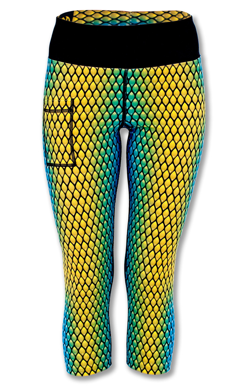 INKnBURN Women's Serpent Capris Front with Waistband Up.