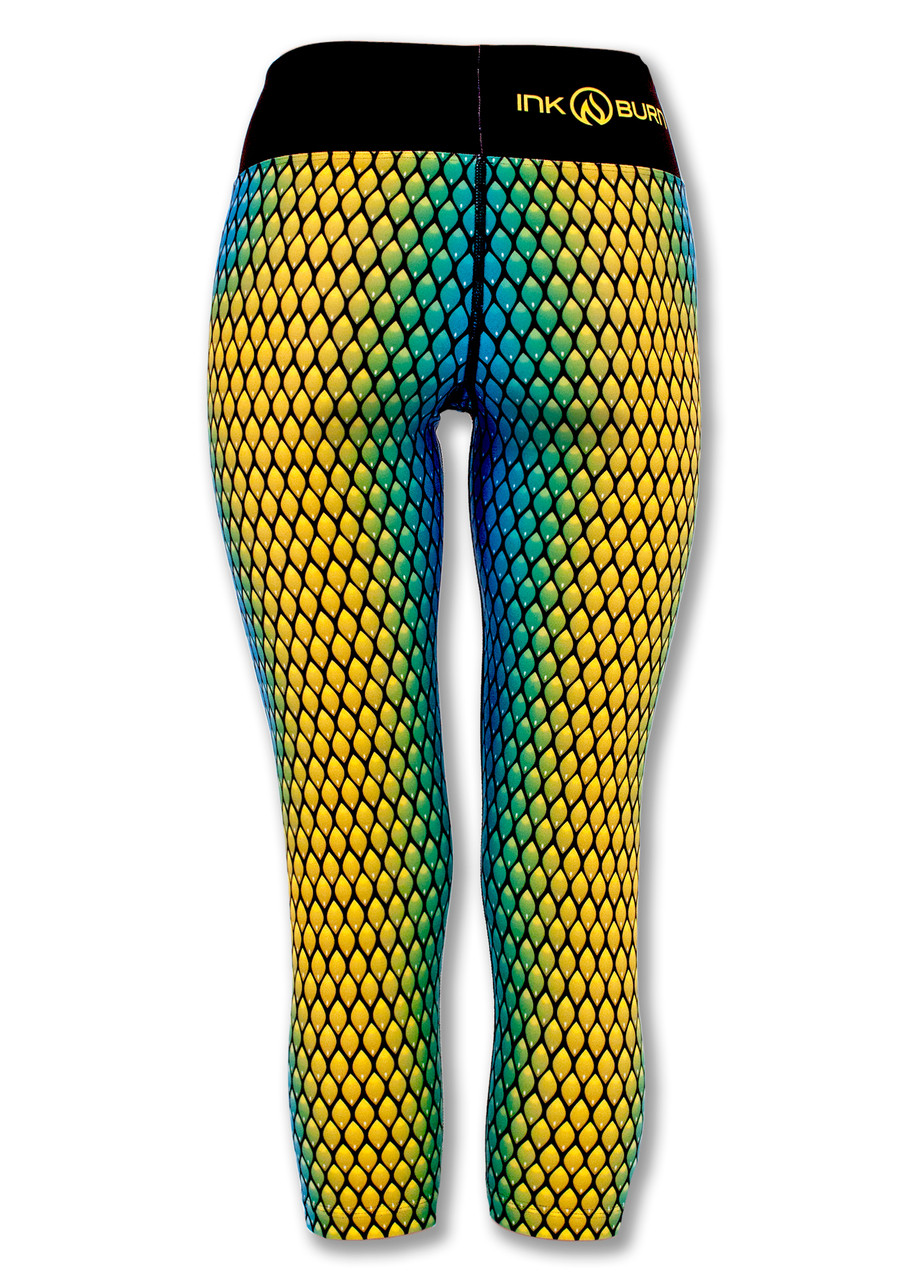 INKnBURN Women's Serpent Capris Back with Waistband Up.