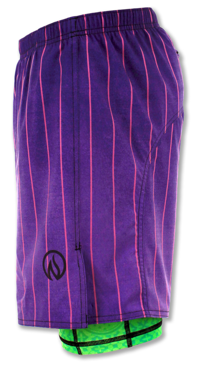 INKnBURN Men's Purple Pinstripe Shorts Left Side