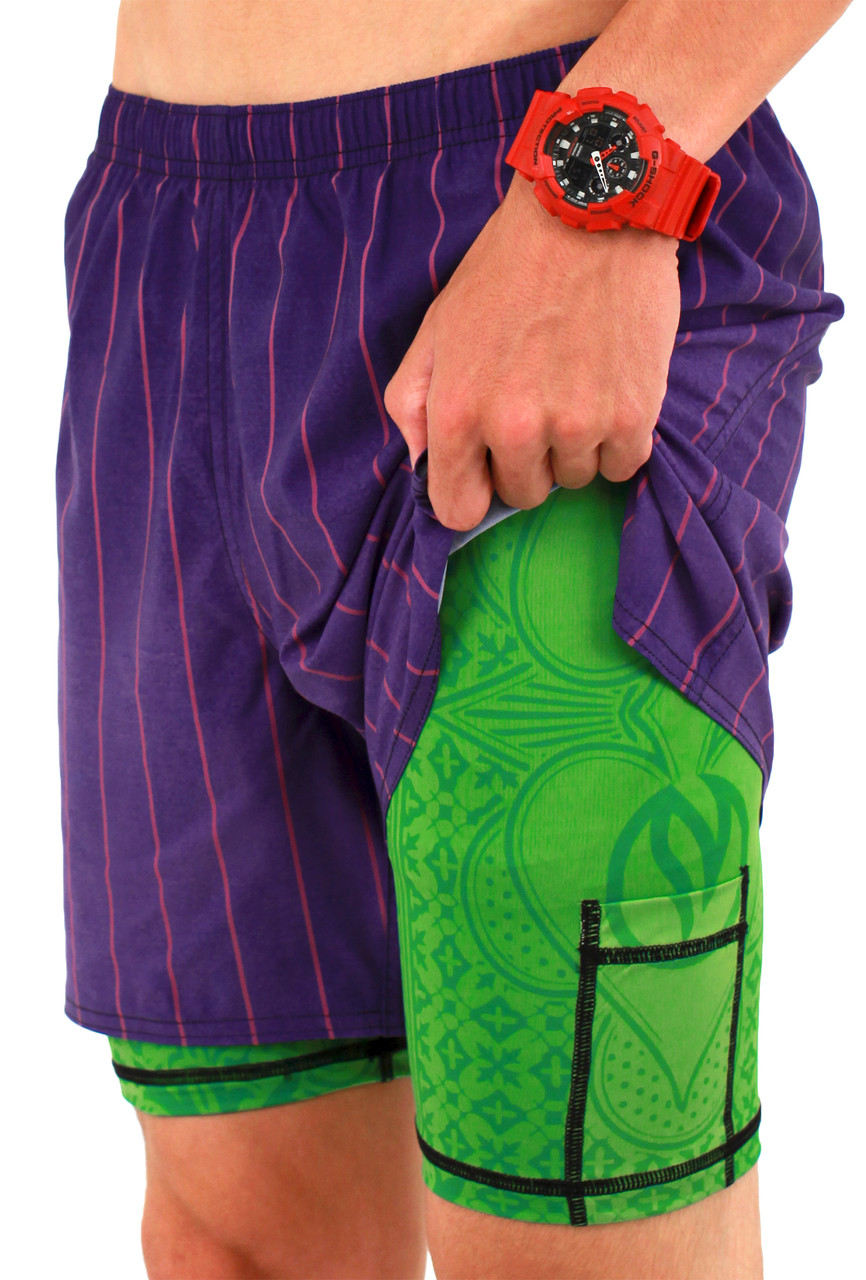 INKnBURN Men's Purple Pinstripe Shorts Side Showing Compression Short Pocket
