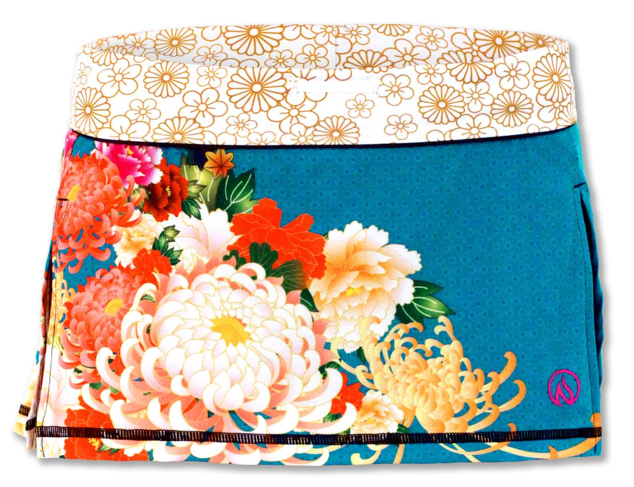INKnBURN Women's Kimono Sport Skirt Front Waistband Up Sport Skirt Front Waistband Folded Down