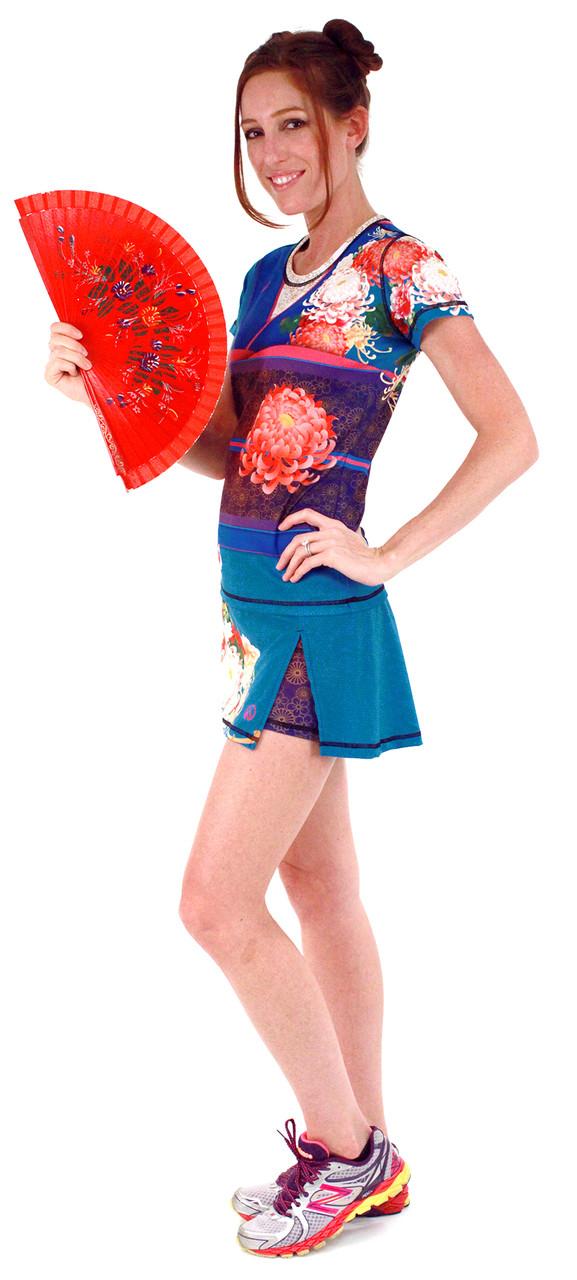 INKnBURN Women's Kimono Tech Shirt and Sport Skirt (Fan not included)