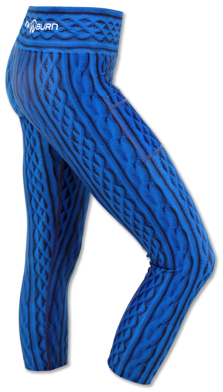 INKnBURN Women's Blue Cable Knit Capris Right Side Waistband Up