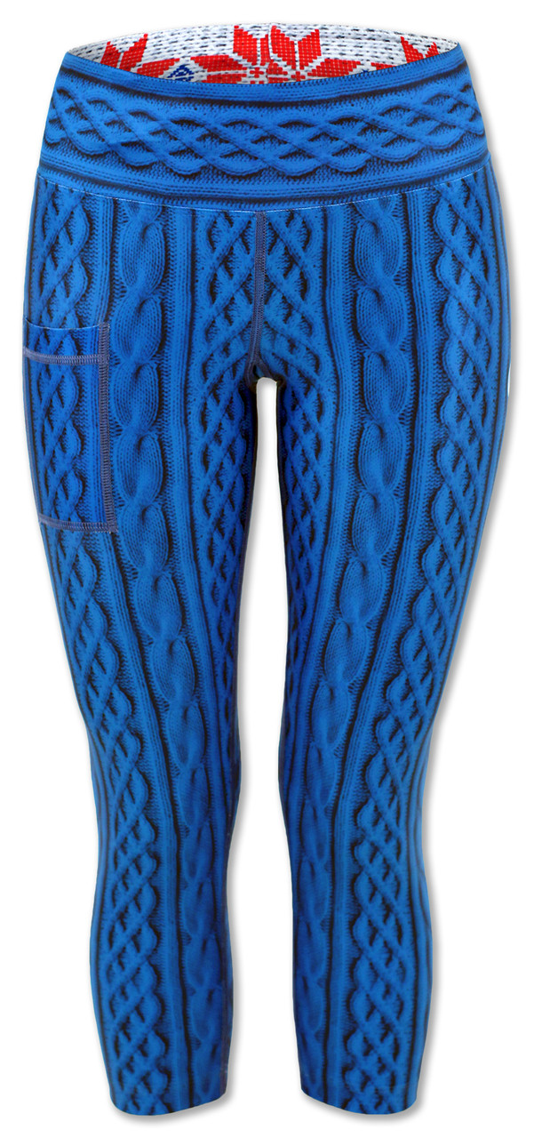 INKnBURN Women's Blue Cable Knit Capris Front Waistband Up
