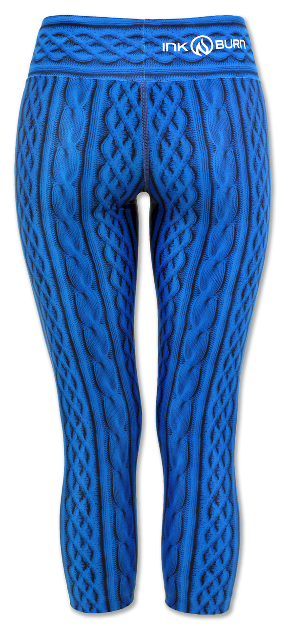 INKnBURN Women's Blue Cable Knit Capris Back Waistband Up