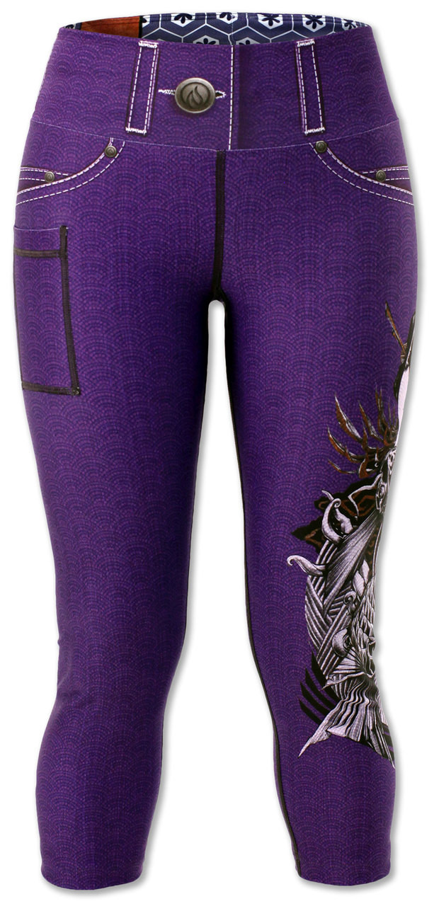 INKnBURN Women's Purple Lust Capris Front Waistband Up