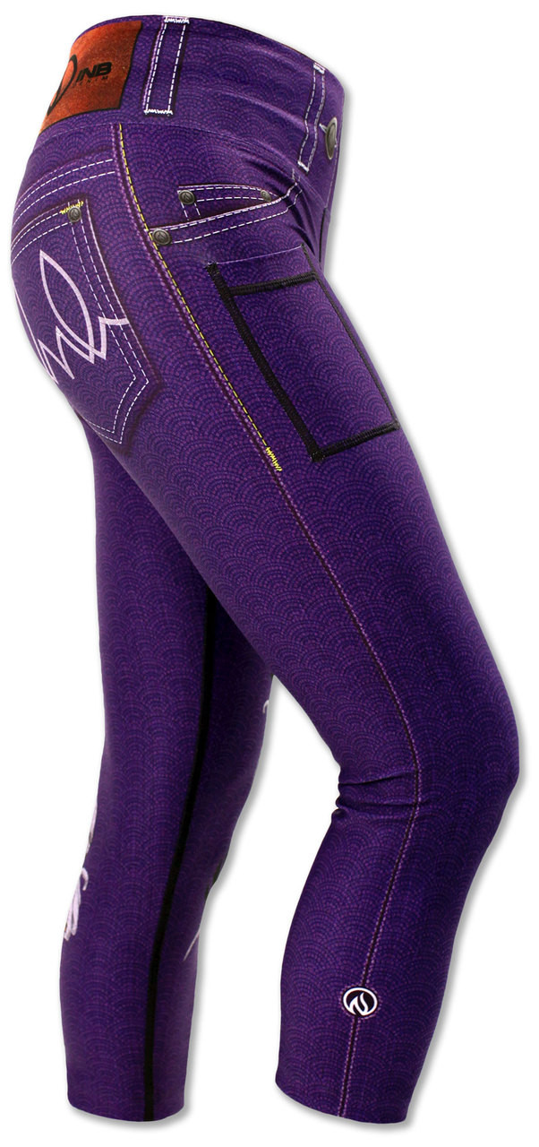 INKnBURN Women's Purple Lust Capris Right Side Waistband Up